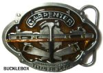 Carpenter Tools Saws Hammer Level Belt Buckle + display stand. Code GL7